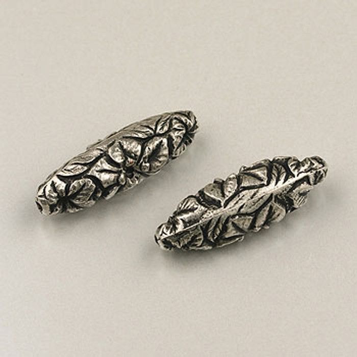 SP0124 - 8x26mm Flower Imprint Oval Bead, Silver Plate (pkg of 8)