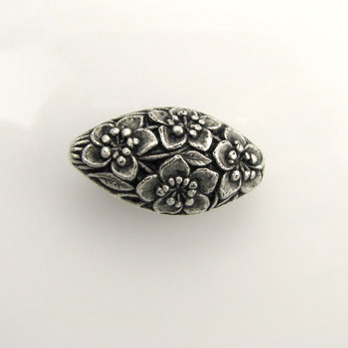 SP0125 - 16x30mm Flower Imprint Oval Bead, Silver Plate (pkg of 6)