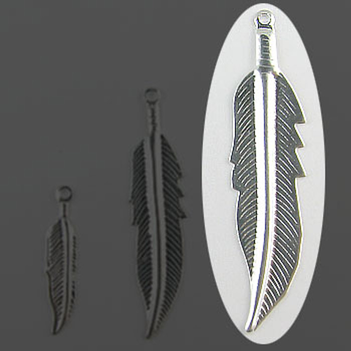 "SP0137-LG - Feather Silver Plate (pkg of 100) 1 3/4"" Length (45mm)"