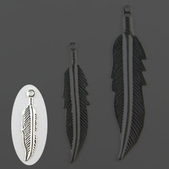 "SP0137-SM - Feather Silver Plate (pkg of 100) 3/4"" Length (20mm)"