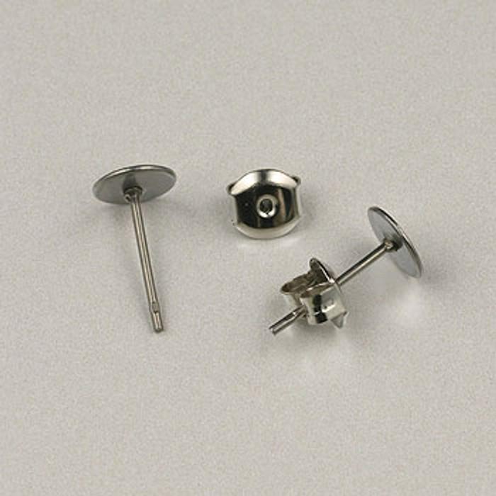 SP0258 - 6mm Glue-On Post Earrings Nickel Plate (5 pairs)