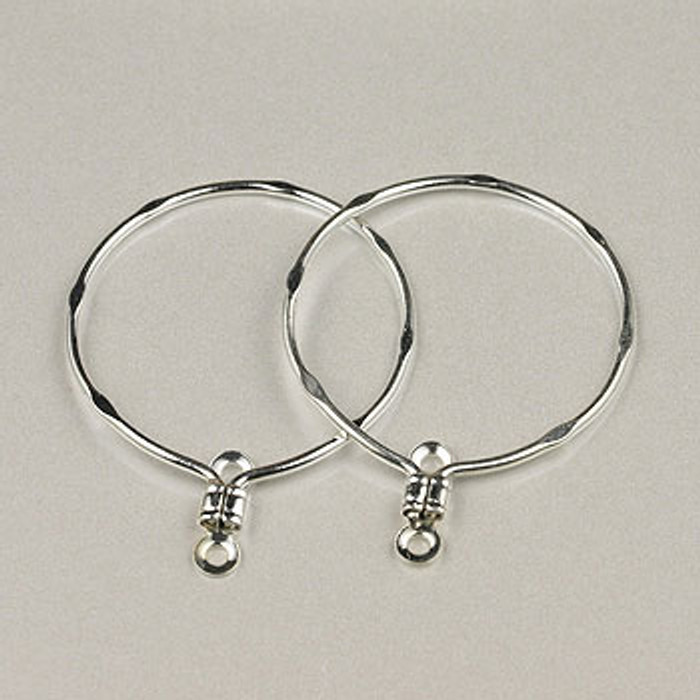 SP0269 - 20mm/3/4 in. Hammered Hoop Finding Silver Plate (pkg of 36)