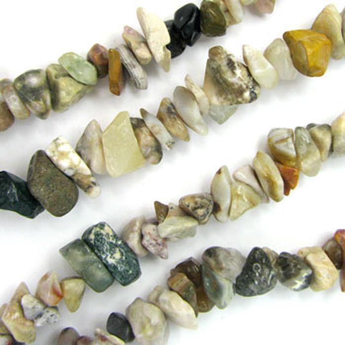 SPSC049 - Ocean Jasper Semi-Precious Stone Chip Beads (36 in. strand)