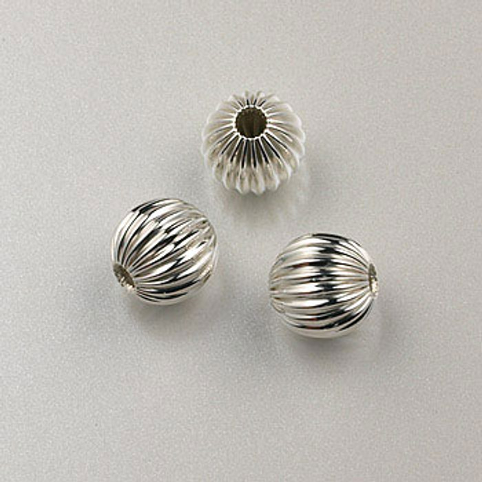 SS0021 - 6mm Corrugated Round Bead, Sterling Silver (pkg of 25)