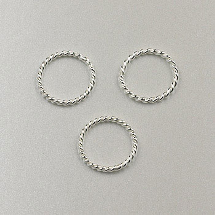SS0064 - 8mm Twisted Closed Jump Ring, Sterling Silver (pkg of 25)