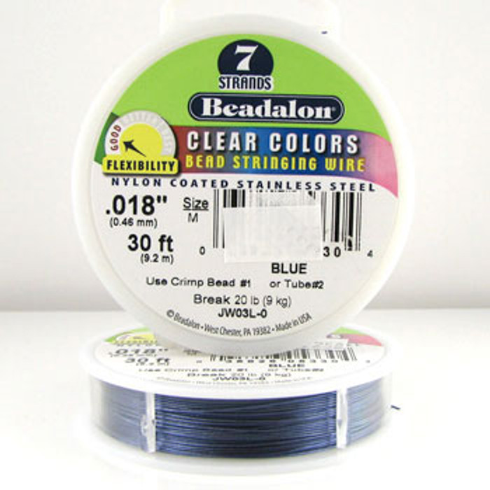 STR0002 - Blue, .018 in., Beadalon 7-Strand Clear Colors - JW03L00 (30 ft spool)