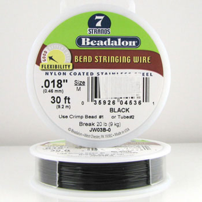 STR0006 - Black, .018 in., Beadalon 7-Strand Nylon Coated Stainless Steel - JW03B00 (30 ft spool)