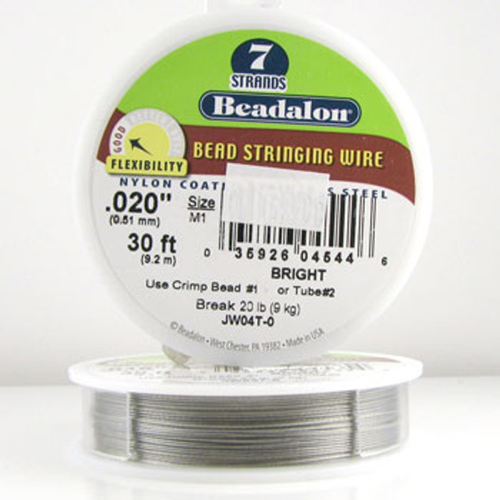 STR0009 - Bright, .020 in., Beadalon 7-Strand Nylon Coated Stainless Steel