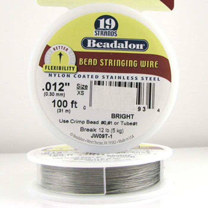STR0011 - Bright, .012 in., Beadalon 19-Strand Nylon Coated Stainless Steel