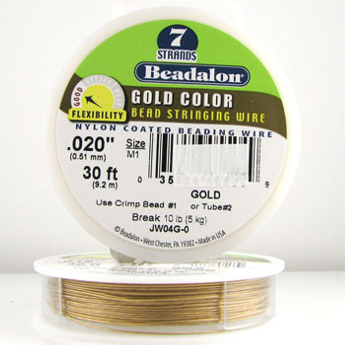 STR0020 - Gold, .020 in., Beadalon 7-Strand Gold Color Nylon Coated Beading Wire - JW04G00 (30 ft spool)