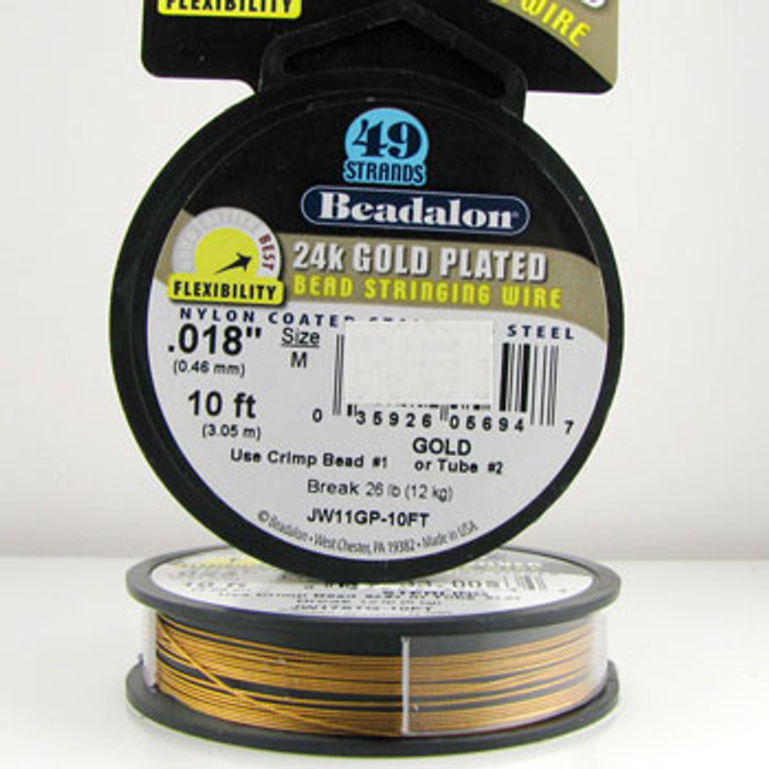 STR0021 - Gold, .018 in., Beadalon 49-Strand 24K Gold Plated Nylon Coated Stainless Steel - JW11GP010FT (10 ft spool)