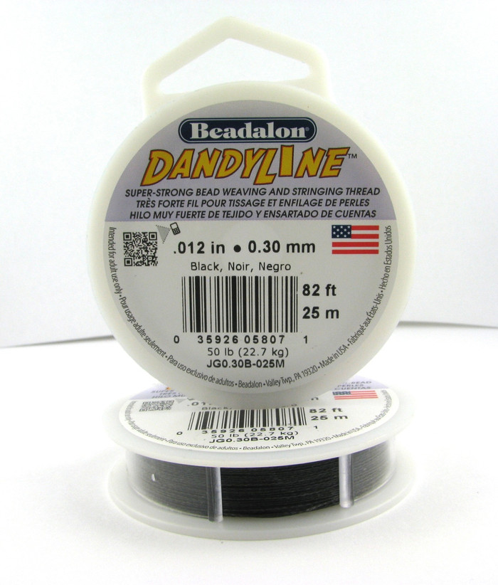 STR0030 - Black, .012 in., Beadalon Dandyline (82 ft spool)