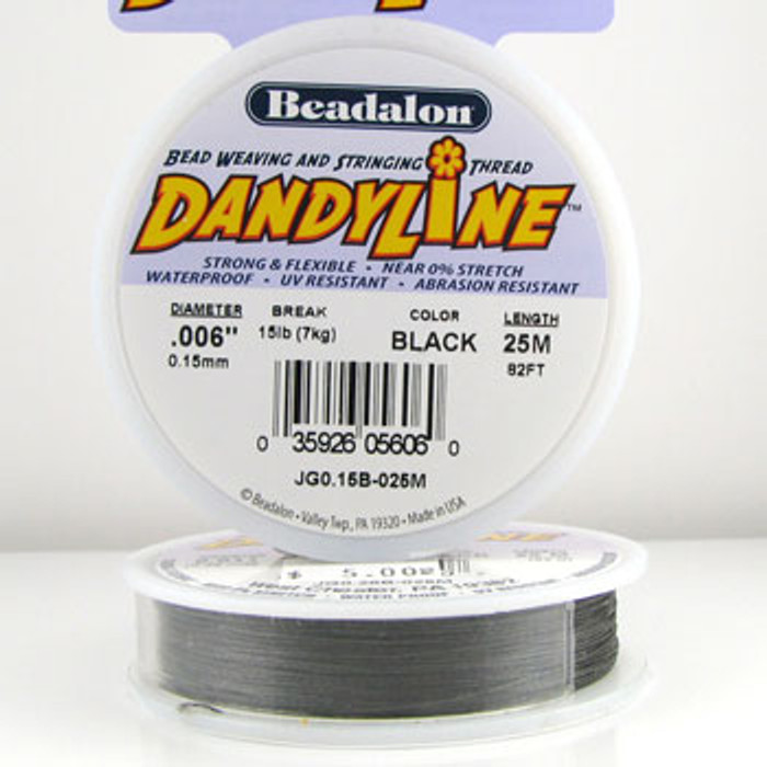 STR0032 - Black, .006 in., Beadalon Dandyline - JG0.15B0025M (82 ft spool)