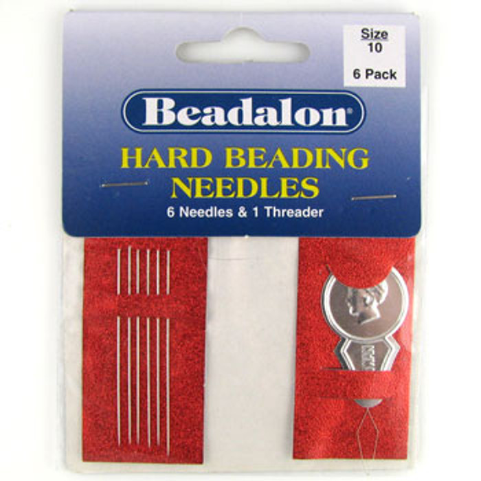 TO0015 - Size 10 Hard Beading Needles, Beadalon (pkg of 6)
