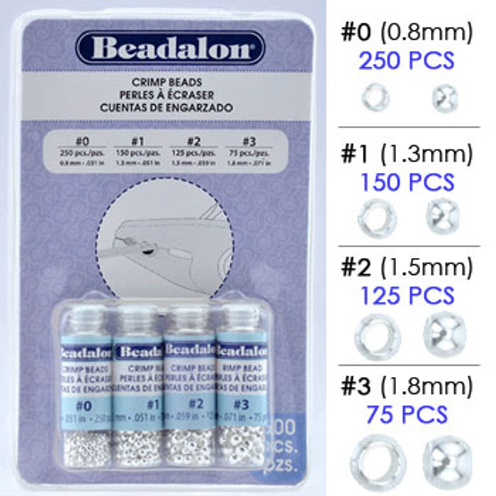 Beadalon Crimp Bead Variety Pack, Silver Plated Assortment, Size #0, #1, #2 & #3 (600 pcs)
