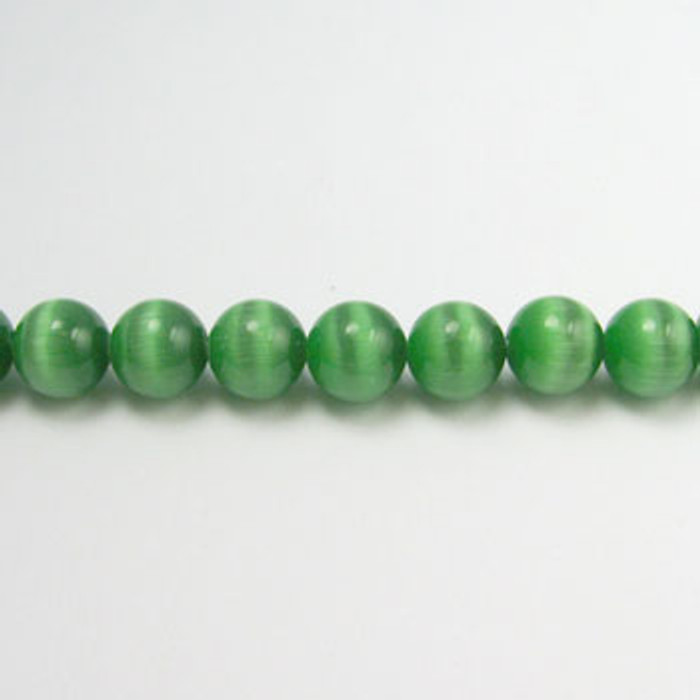 FOR008 - Dark Green Fiber Optic, Rounds (approx. 14in. strand) - 4MM