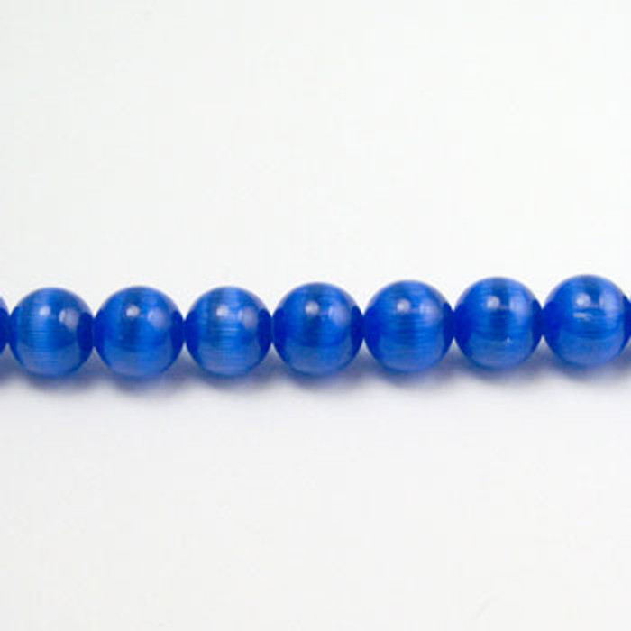 FOR011 - Sapphire Blue Fiber Optic, Rounds (approx. 14in. strand) - 6MM