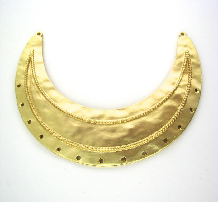 Satin Hamilton Gold 84mm x 26mm Curved Pendant 2 Loop w/13 Holes