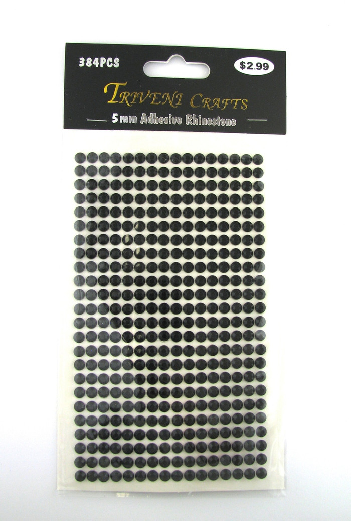 5mm Black Flatback Rhinestones (384 pcs) Self-Adhesive - Easy Peel Strips