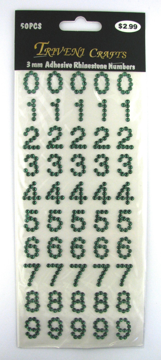 16mm Dark Green Numbers Flatback Rhinestones (50 pcs) Self-Adhesive - Easy Peel Strips