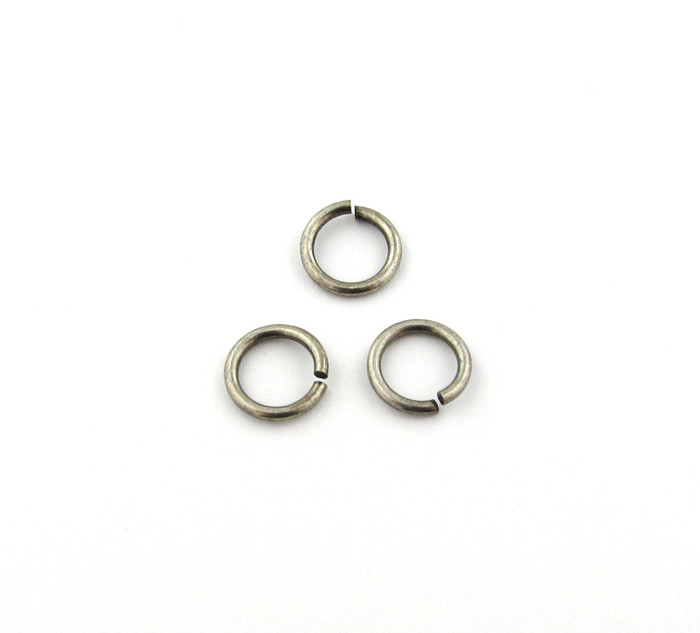 ASP004 - 10mm 15ga Open Jump Ring, Thick, Antique Silver Plated (pkg of 50)