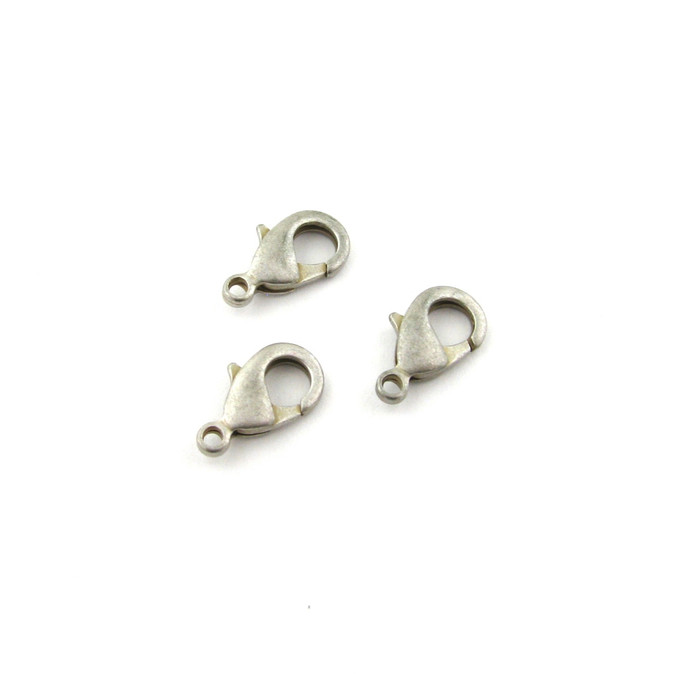 ASP013 - 15mm Lobster Claw Clasp, Antique Silver Plated (pkg of 10)
