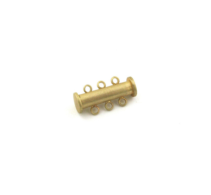 SHGP017 - 20mm 3-Strand Magnetic Tube Clasp, Satin Hamilton Gold Plated (each)