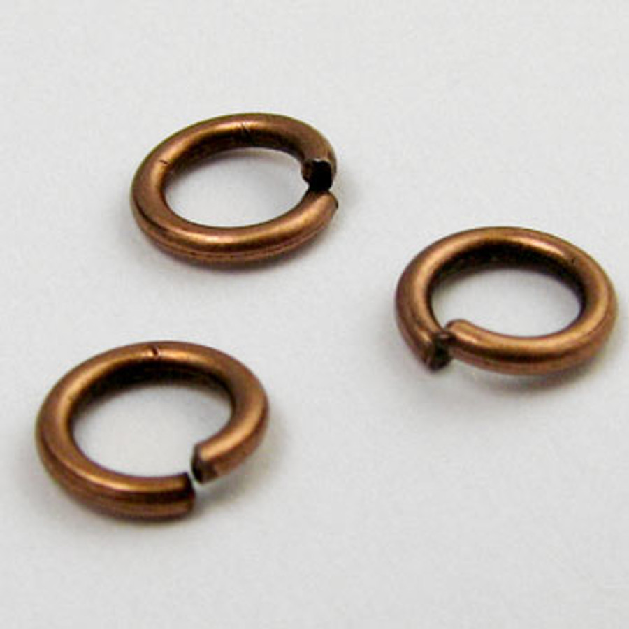 6mm Open Jump Ring, Antique Copper Plated (pkg of 100)