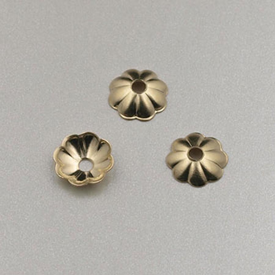 GF0027 - 6mm Bead Caps, Gold-Fill (pkg of 50)