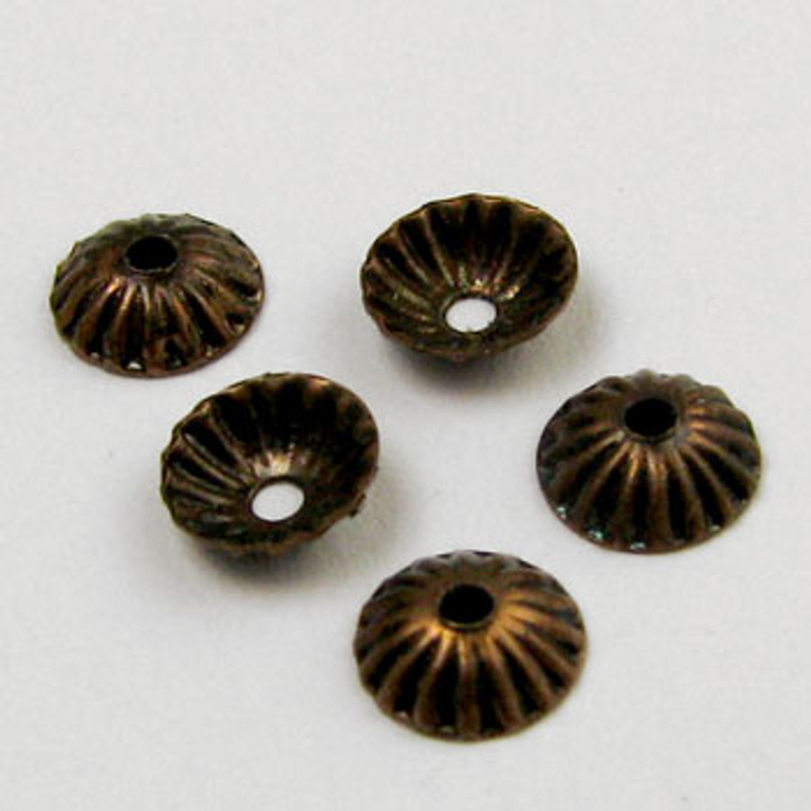 4mm Bead Cap, Antique Copper Plated (pkg of 50)