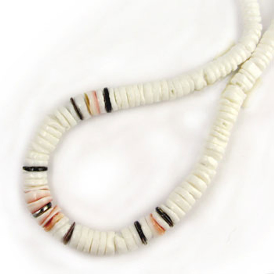 HB0031 - White Clam Tapered Combo Heishi Beads, 4mm-8mm (16 in. strand)