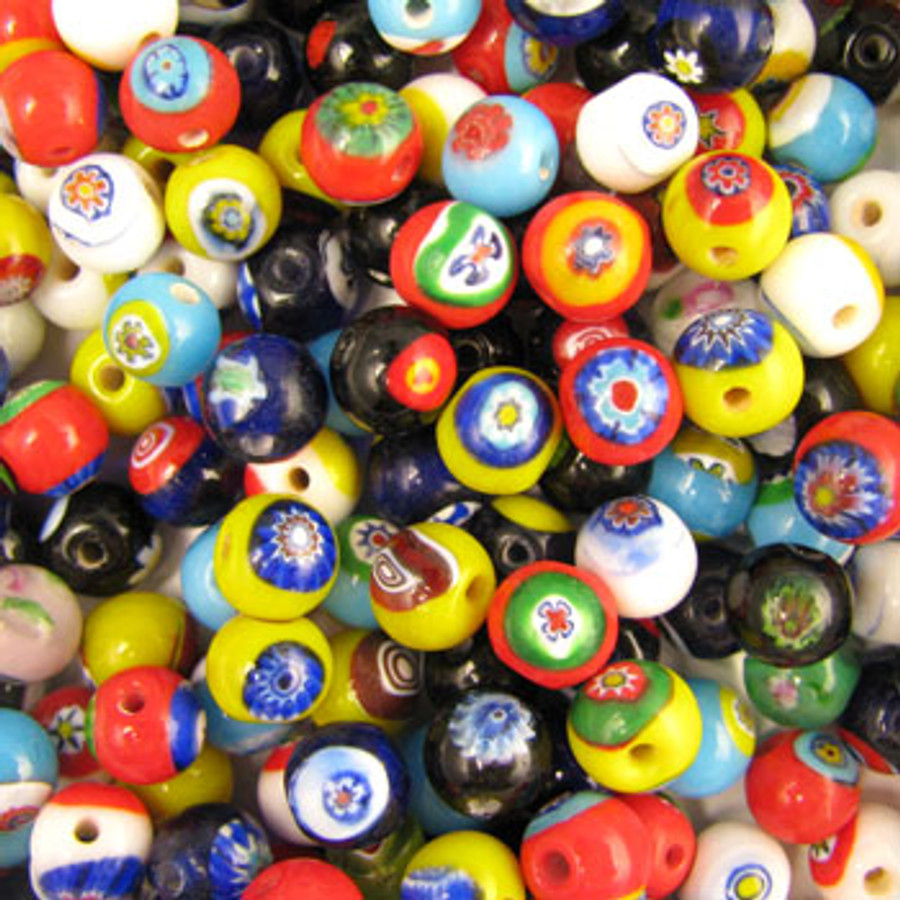 MIX0008 - India Millifiori Mix - approx. 8mm round (assorted colors) - approx. 59 beads per 50 grams