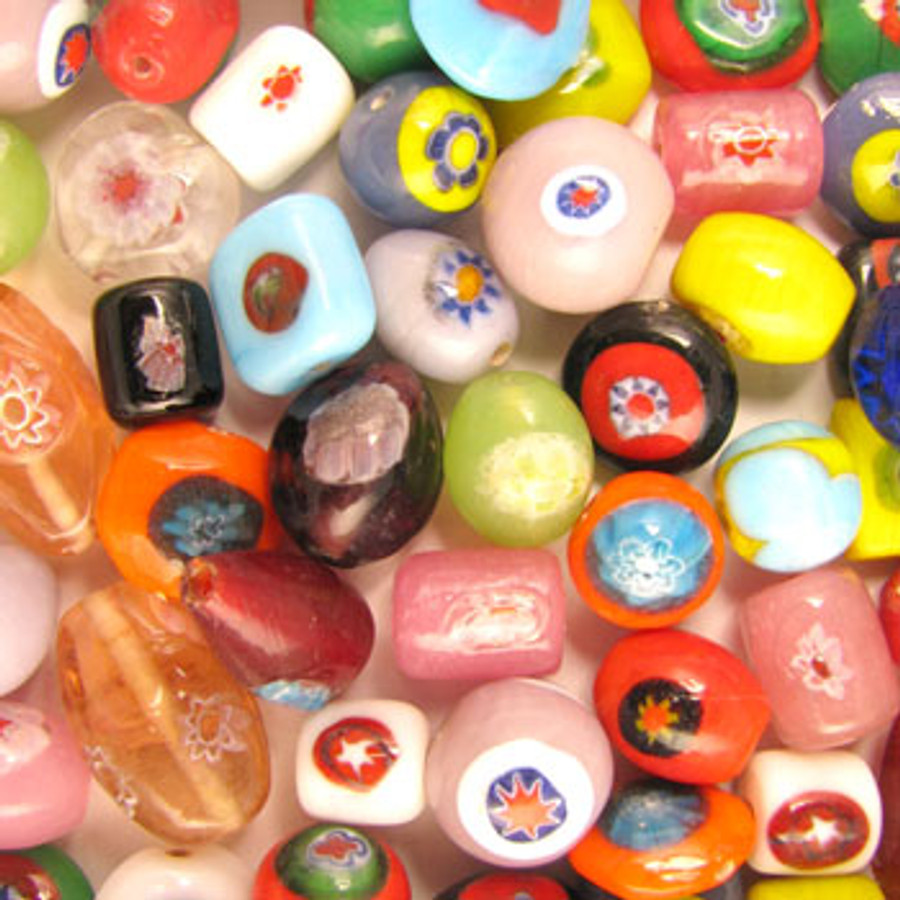 MIX0010 - India Millifiori Mix - (assorted sizes/shapes/colors) - approx. 22 beads per 50 grams