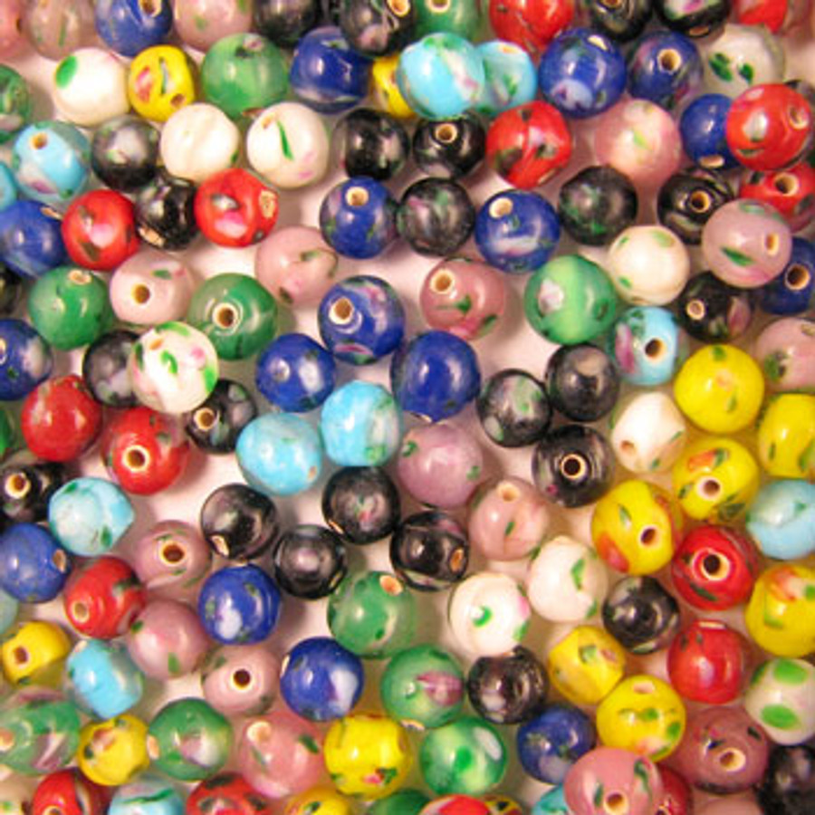 MIX0026 - India Flower Bead Mix - approx. 6mm round (assorted colors) - approx. 125 beads per 50 grams