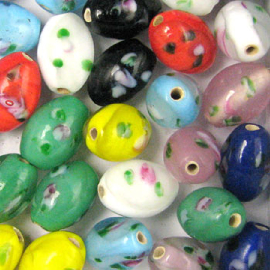MIX0028 - India Flower Bead Mix - approx. 12 x 8 mm oval  (assorted colors) - approx. 48 beads per 50 grams