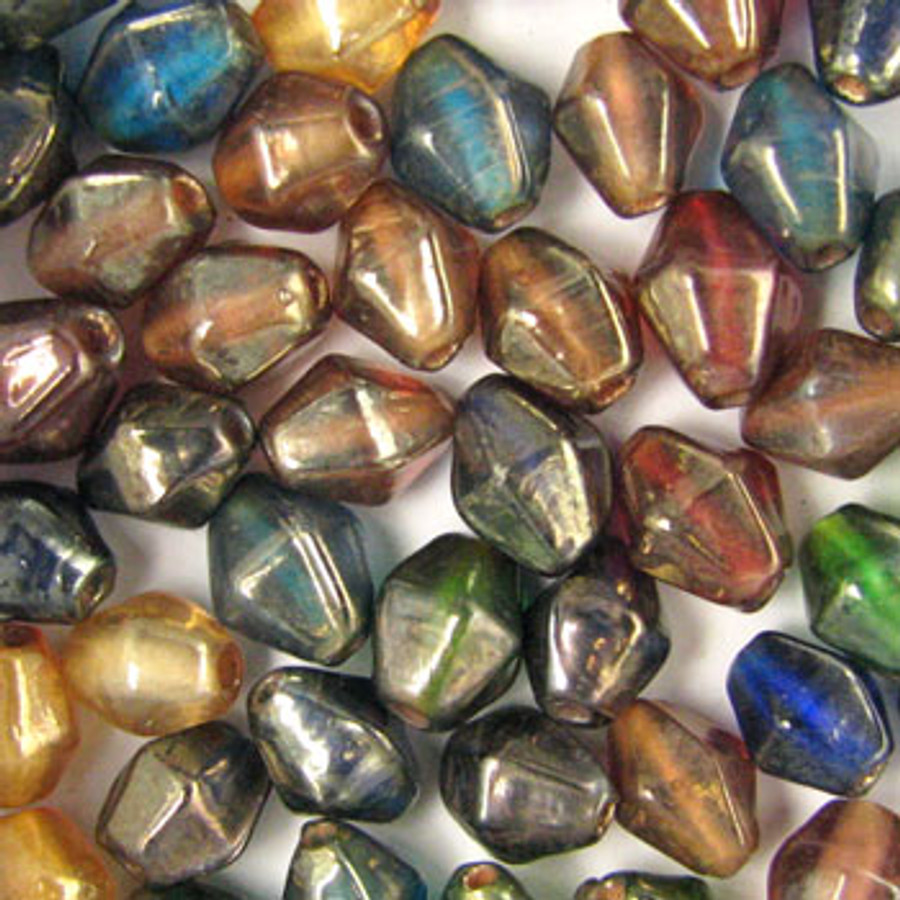 MIX0040 - India Luster Mix - approx. 9 x 7mm bicone (assorted colors)