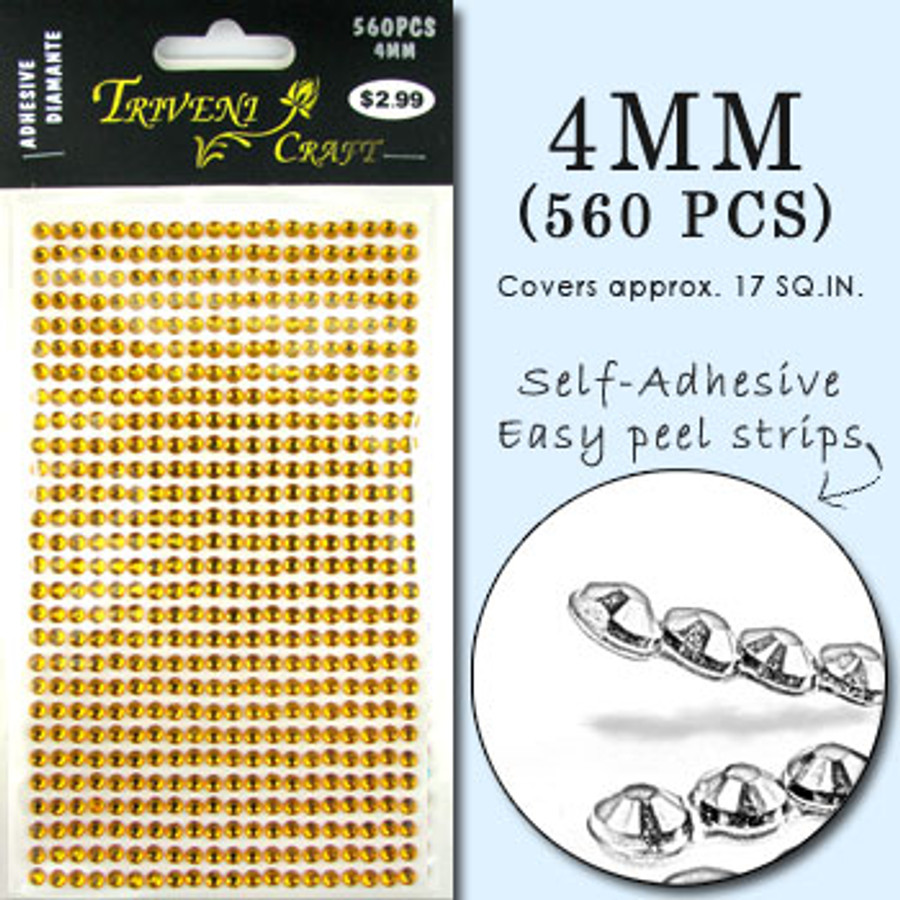 4mm Topaz Flatback Rhinestones (560 pcs) Self-Adhesive - Easy Peel Strips