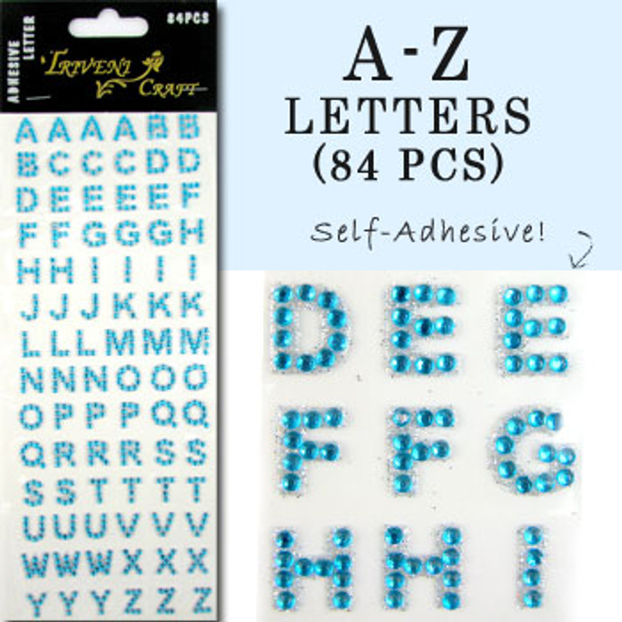 10mm (3/8 in.) Aqua Alphabet Letters, Flatback Rhinestones (84 pcs) Self-Adhesive - Easy Peel Strips