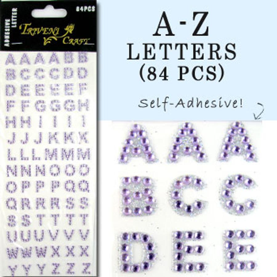 10mm (3/8 in.) Light Purple Alphabet Letters, Flatback Rhinestones (84 pcs) Self-Adhesive - Easy Peel Strips