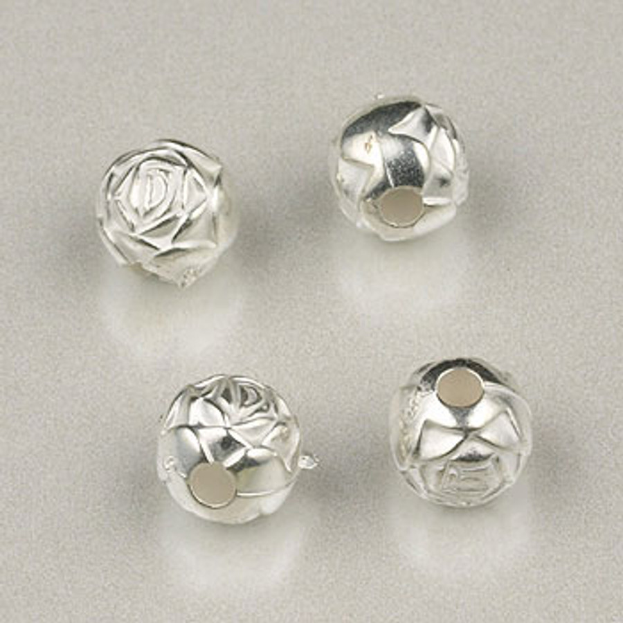 SP0023 - 6mm Rosebud, Bright, Silver Plate (pkg of 200)