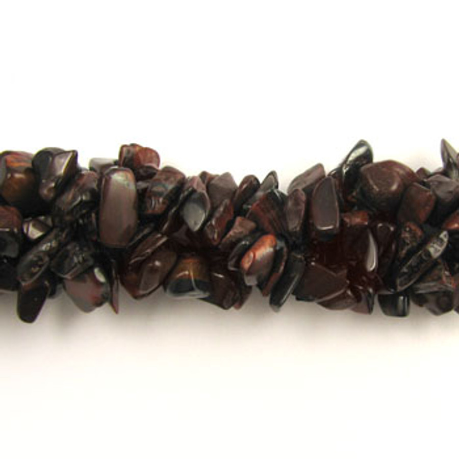 SPSC033 - Red Tiger Eye Semi-Precious Stone Chip Beads (36 in. strand)