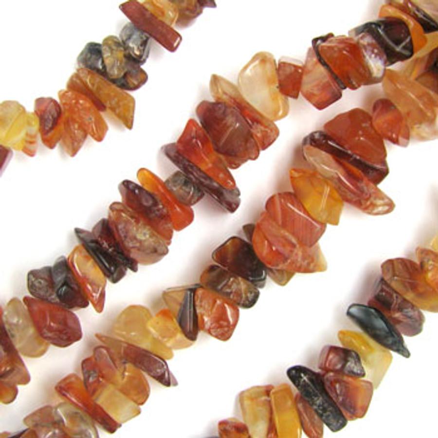 SPSC050 - Carnelian Agate Semi-Precious Stone Chip Beads (36 in. strand)