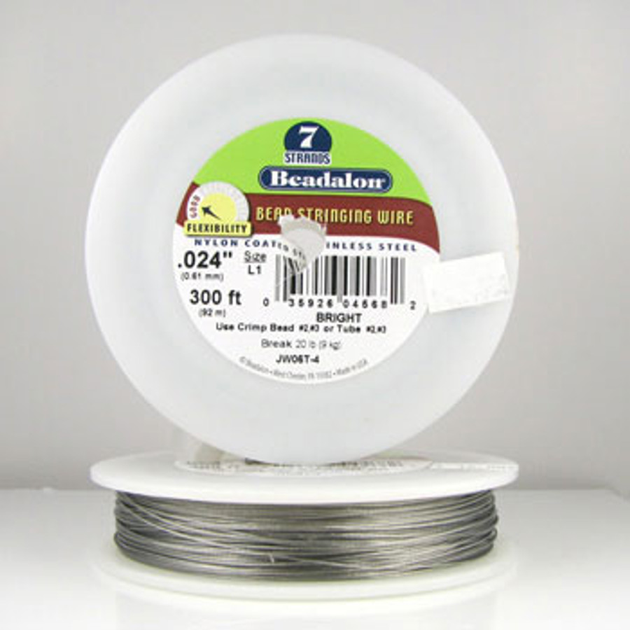 STR0010 - Bright, .024 in., Beadalon 7-Strand Nylon Coated Stainless Steel