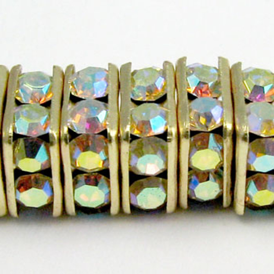 SWR008 - Swarovski Squaredelles, Gold Plated, Crystal AB (36 Pieces)