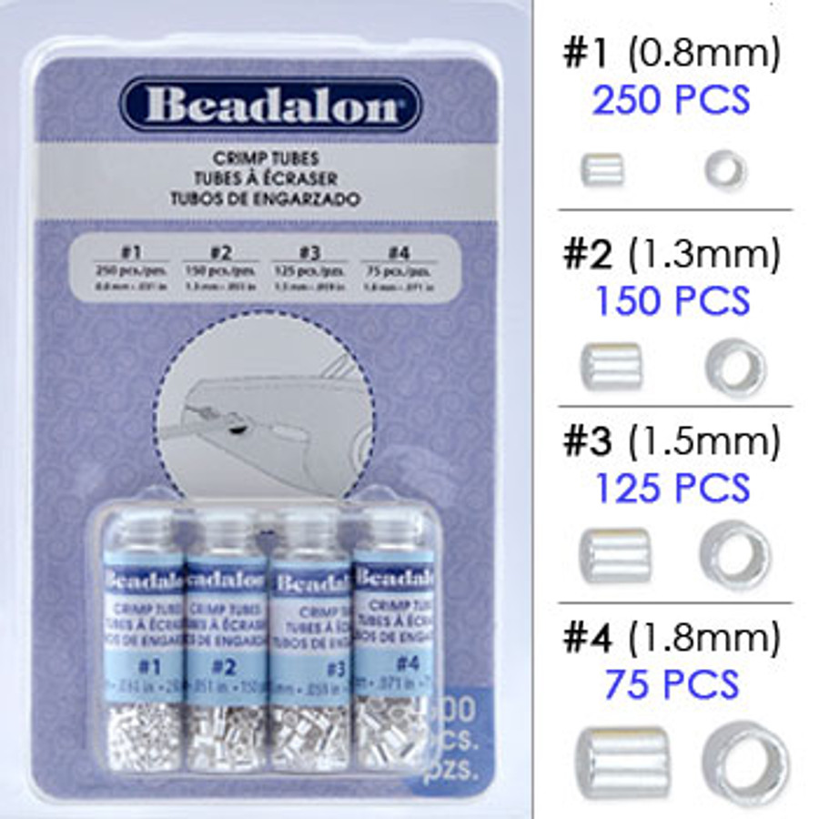 Beadalon Crimp Tubes Variety Pack, Silver Plated Assortment, Size #1, #2, #3 & #4 (600 pcs)