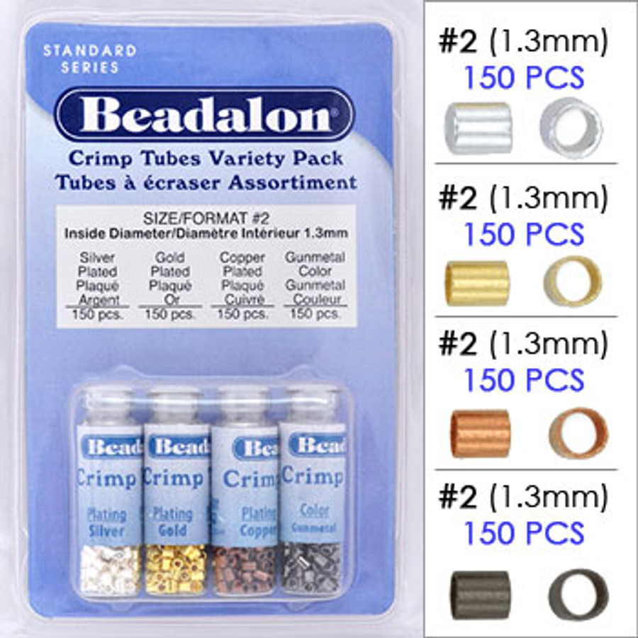 Beadalon Crimp Tubes Variety Pack, Silver/Gold/Copper/Gunmetal Plated, Size #2 (600 pcs)
