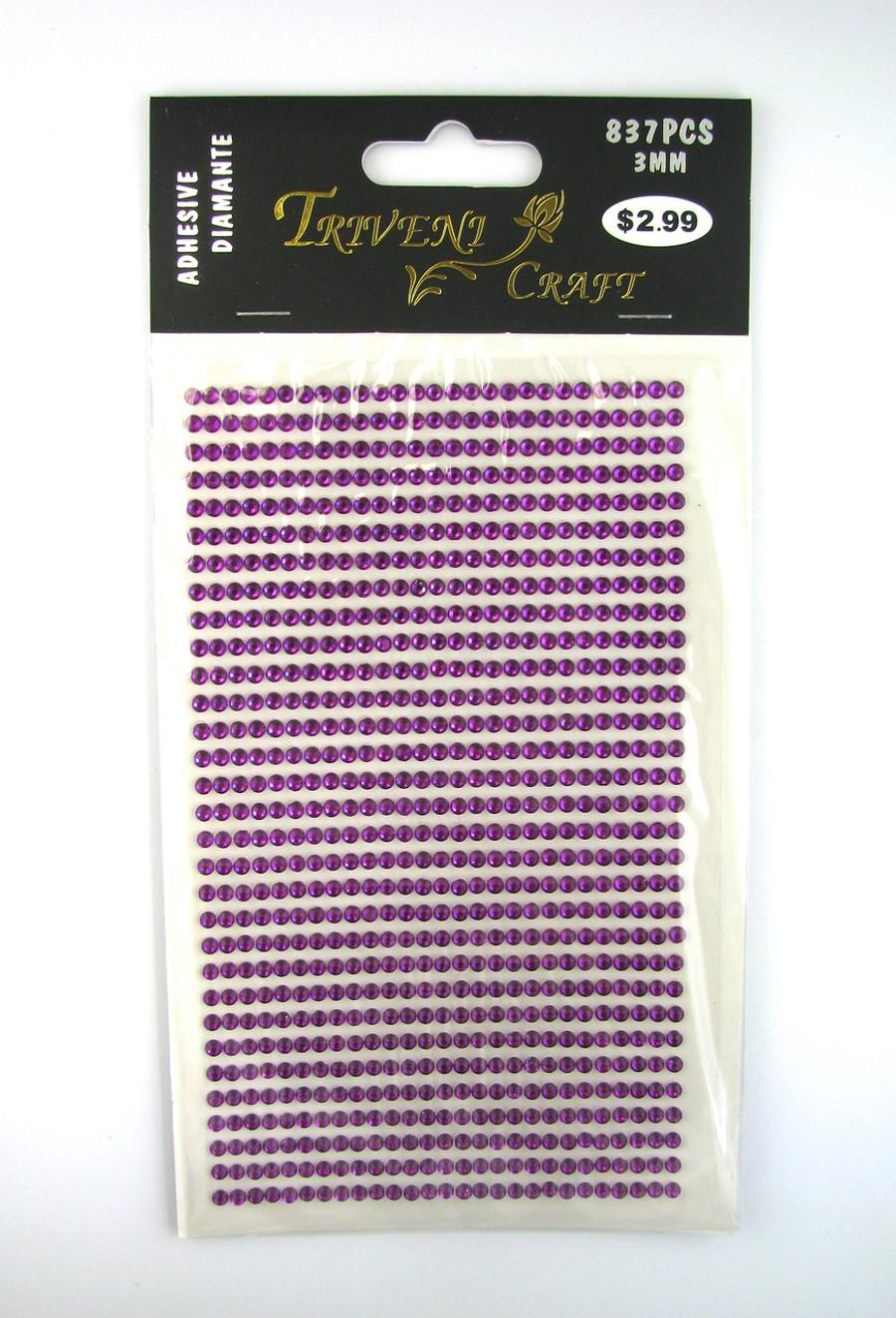 3mm Purple Fuchsia Flatback Rhinestones (837 pcs) Self-Adhesive - Easy Peel Strips