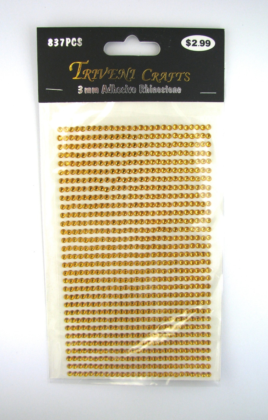 3mm Topaz Flatback Rhinestones (837 pcs) Self-Adhesive - Easy Peel Strips