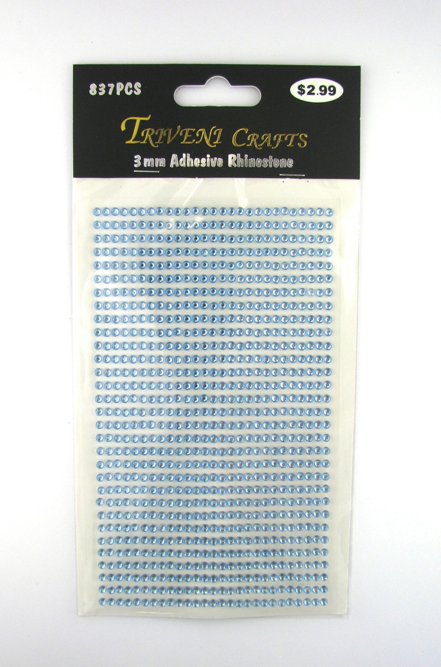 3mm Light Blue Flatback Rhinestones (837 pcs) Self-Adhesive - Easy Peel Strips