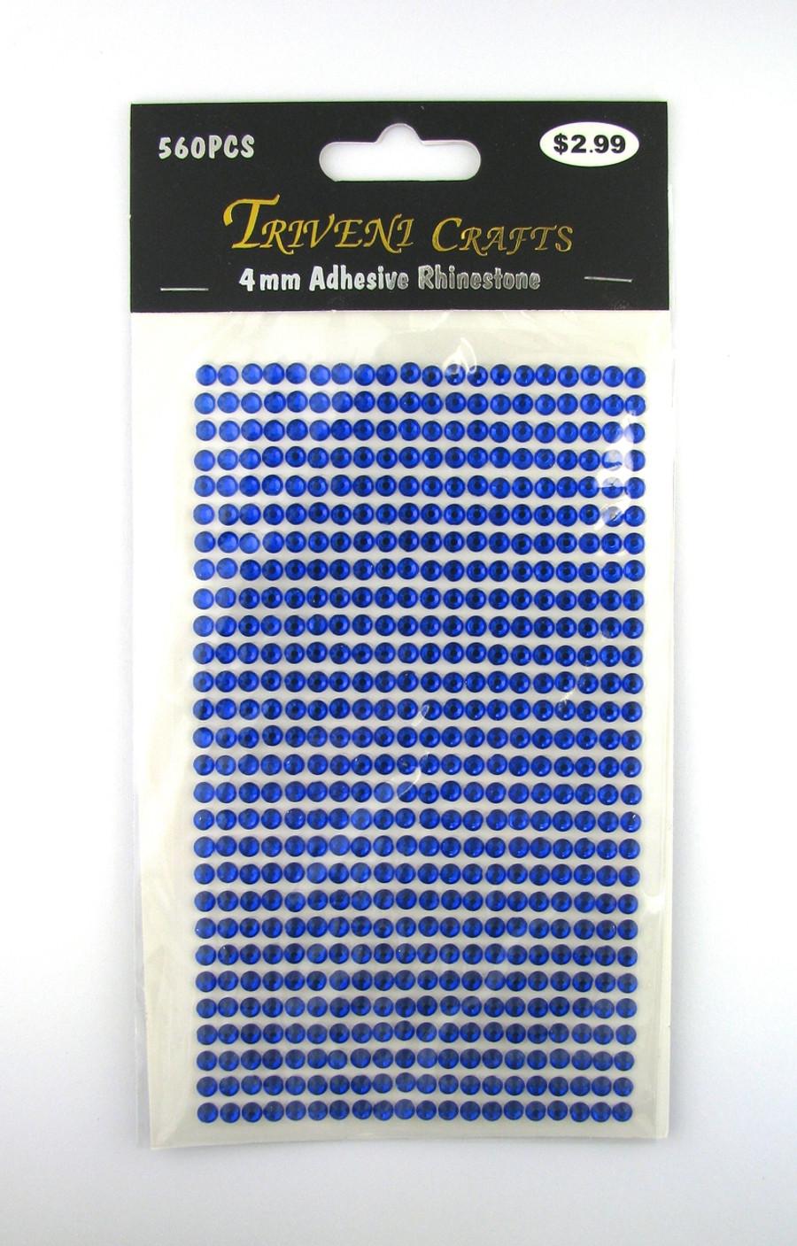 4mm Dark Blue Flatback Rhinestones (560 pcs) Self-Adhesive - Easy Peel Strips
